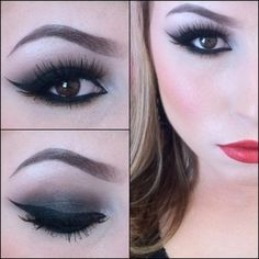brown smokey with winged liner andn red lips. Use Urban Decay Naked Pallette Creep, Darkhorse, Buck, Virgin and Sin.