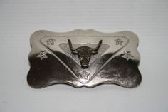 The Chambers USA bELT bUCKLE Steel Silver Western Style Bull 3D With Stars