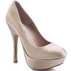 """Steve Madden- """"Partyy-r"""" in Champagne Satin. Also come in Black, Blue, Silver, and Fuchsia Satin. I NEED THESE SHOES."""