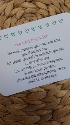 Wedding Poem Invitation Insert Money As A Gift by LolasLoveNotes                                                                                                                                                                                 More