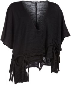 Wool shirt with large pouch pockets in Black, designed by Barbara Speer