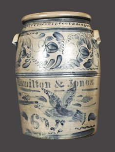 Hamilton and Jones stoneware crock, brushed eagle decoration Antique Crocks, Old Crocks, Antique Stoneware, Stoneware Crocks, Primitive Antiques, Earthenware, Vintage Antiques, Glazes For Pottery, Blue Nails