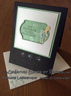 """Jeu d'étampes / Stamp Set """"Souhaits Champêtres / Cottage Greetings"""" et Perforatrice """"Étiquette à noter / Note Tag"""" ... www.creationencreetpapier.com"""