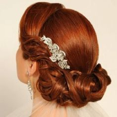 Beautiful retro updo with jeweled comb