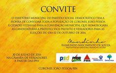 RN POLITICA EM DIA: CONVITE: CONVENÇÃO DO PSD DE CORONEL JOÃO PESSOA, ...
