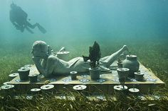 Underwater Sculpture Park off the coast of Grenada. By Jason deCaires Taylor.    I'd love to see this closeup!