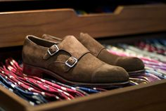 Robert Last Double Monks in Ante Marron Suede Shoes, Men's Shoes, Dress Shoes, Dark Fashion, Mens Fashion, Double Monk Strap Shoes, Man Gear, Mens Style Guide, All About Shoes