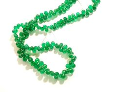 """1 Strand Green Onyx Drop Faceted 5x7mm Gemstone Beads 14"""" Long #Empressbeads"""