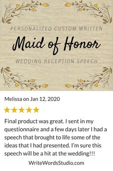 Custom Maid of Honor Speech - Personalized Bridesmaid / Matron of Honor Wedding Reception Toast Maid Of Honor Toast, Maid Of Honor Speech, Matron Of Honour, Best Man Wedding Speeches, Best Speeches, Bridesmaid Speeches, Wedding Toast Samples, Wedding Toasts, Custom Writing