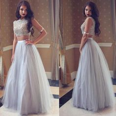 Robe De Soiree Longue Arabic African Two Pieces Prom Dresses 2017 Beaded Bodice A Line Tulle Evening Party Gowns vestido longo Grey Evening Dresses, Grey Prom Dress, Prom Dresses Two Piece, Beaded Prom Dress, A Line Prom Dresses, Prom Party Dresses, Evening Gowns, Formal Dresses, Formal Prom