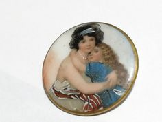 GORGEOUS PAINTING OVER PORCELAIN BUTTON -  1 1/2""