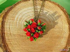 Valentine Necklace Pendant heart Red Roses от KsuhaJewelryFlowers