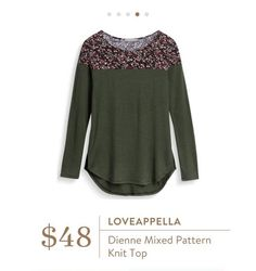 Stitch Fix: Loveappella Dienne Mixed Pattern Knit Top - Really like the fall colors and pattern mix on this, and one of my favorite brands.