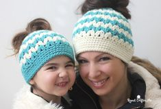 Crochet Mommy and Me Messy Bun Hats Repeat Crafter