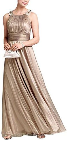Iridescent Tulle Jewel Neck Gown with Ruched Waist Bronze