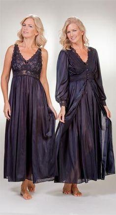 Shadowline Silhouette Robe/Gown Peignoir Set - Black