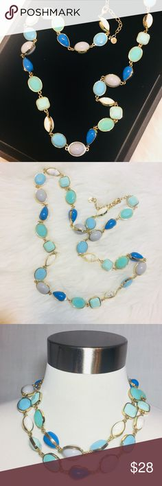 """Talbots Blue Green White Grey Gold Long Necklace Talbots Blue Green White Marble Grey Gold Long Necklace  NWOT New without tags 35"""" length, not including 3"""" extender Can be worn doubled Lobster clasp Talbots Jewelry Necklaces"""