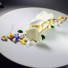 Yuzu Bar, coconut pudding, Basil Syrup, white chocolate yuzu ganache, coconut snow , citrus meringue. Bachour new book coming out sept 2014.