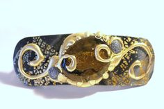 Charcoal Gray Topaz Gold and Silver Barrette by MaineCoonCrafts