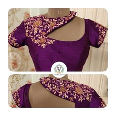 Stunning purple color bridal trendy designer blouse with flo… For the unique you. Stunning purple color bridal trendy designer blouse with floret lata design hand embroidery thread bead and kundan work. Fancy Blouse Designs, Bridal Blouse Designs, Sleeves Designs For Dresses, Stylish Blouse Design, Designer Blouse Patterns, Blouse Neck Designs, Sarees, Embroidery Thread, Engagement Makeup