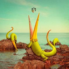 Cute Imaginative Monsters Illustration in Real World Pictures