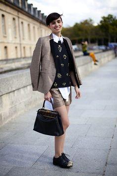 Great jacket, print top, bag