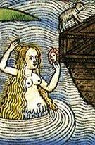 Nuremberg Bible illustration, mermaid outside of Noah's Ark.