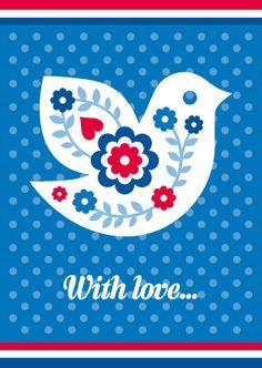 Ansichtkaart VOGEL - Een Hollandse ansichtkaart met een vogel als illustratie, een blauw gestippelde achtergrond en de tekst 'with love…': http://postenpapier.nl/product/ansichtkaart-vogel/