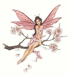 Amy brown fairies | Amy Brown Print Fairy Cherry Blossom Pink Flower Faery | eBay