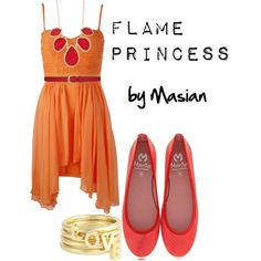 """""""Inspired Look: Flame Princess from Adventure Time!"""" by callmemasian on Polyvore! follow her fashion blog at http://styledbymasian.tumblr.com!"""