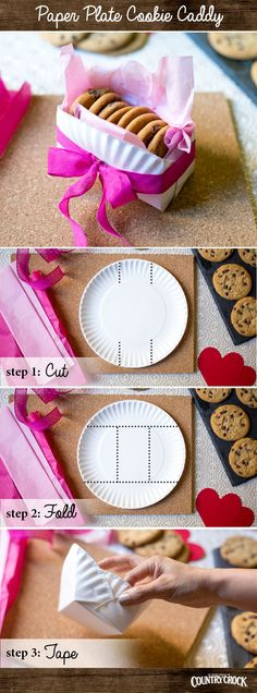 When it comes to Valentine's Day, handmade always wins. Chocolate chip cookie … When it comes to Valentine's Day, handmade always wins. Chocolate chip cookie caddies are perfect for your kids' school sweethearts. Paper Plate Box, Paper Plates, Diy And Crafts, Crafts For Kids, Paper Crafts, Valentine Cookies, Valentines, Easter Cookies, Birthday Cookies