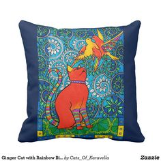 Ginger Cat with Rainbow Birds Cat Art Throw Pillow