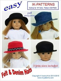 """Hat Pattern for 18"""" American Girl Doll. 18 inch doll clothes patterns #ikpatterns"""