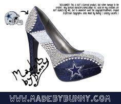 Made to Order Dallas Cowboys NFL Football Crystal Rhinestone Glitter Stiletto / Pumps / Heels / Closed Peep or Open Toe. $75.00, via Etsy.