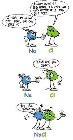Sodium chloride cartoon. So cute! I'm glad to have this when teaching physical science.