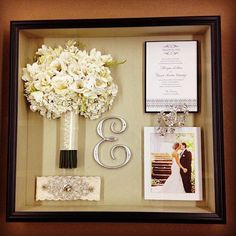 Love this idea as a keepsake after the wedding. Boxframe with bouquet. Wedding invite garter and pics. So going to do this for mu bestie after her wedding xx