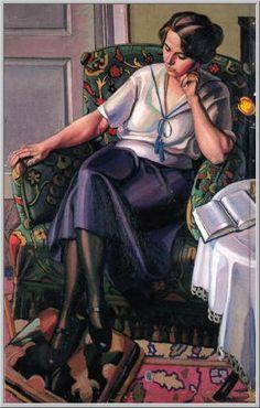 Mario Tozzi 1920: Ritratto di Mia Moglie. Olio su Tela cm.121x77 - Collezione Parigi - Archivio n.1123 - Catalogo Generale n.20/1.