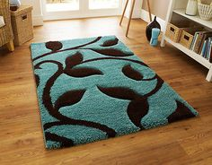 LARGE+THICK+DUCK+EGG+BLUE+TEAL+BLUE+CHOCOLATE+BROWN+SHAGGY+RUG+120x170cm
