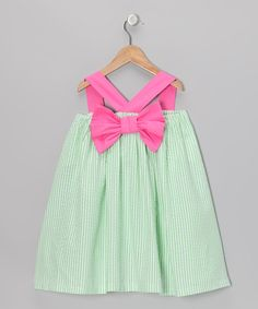 Green Seersucker Bow Swing Dress - Back, Addie & Ella