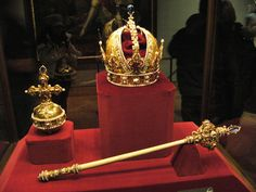 Imperial crown, Orb, and Scepter of Austria, displayed in the Imperial Treasury at the Hofburg Palace in Vienna