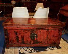 Buffet bas Chinois laque rouge antique|Toulouse 31 Antiquités Brocante en Ligne Puces d'Oc