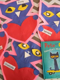 Pete the Cat Valentine's Day project.  Cute!  #ece