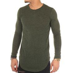 Celebry Tees - Tee Shirt Manches Longues Oversize Moda Bloum Vert Kaki - LaBoutiqueOfficielle.com