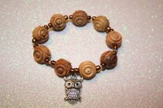 Owl and Carved Beads Bracelet and Necklace by SageBeauties on Etsy, $18.00
