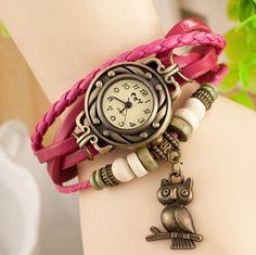 Owl Bracelet. Lucky Charm. Watch