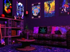 Black light posters were so cool and don't forget the bookshelves made out of cinderblocks.