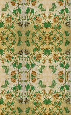 """Day 35 ~ """"Passion Flower"""" http://zoe-design.blogspot.com This wallpaper was created from fragments of antique wallpaper found in Stockholm, Sweden. #WallCoverings#InteriorDesign"""