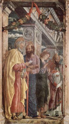 1459 - Altarpiece of San Zeno in Verona, left panel of St. Peter and St. Paul, St.John the Evangelist, St. Zeno - Andrea Mantegna