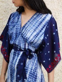 Indigo Kimono Wrap Dress in Shibori Dyed