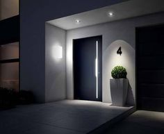 Put the entrance into the right light Hauseingang, Haustür, Beleuchtung, Foto: Weru p House entrance front door lighting photo Weru Put the entrance into the right light House entrance front door lighting photo Weru p Modern Front Door, House Front Door, House Entrance, Entrance Doors, Doorway, Front Porch, Door Design, Exterior Design, House Design